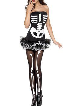 Skeleton Printed Halloween Costume