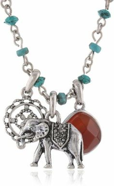 """Lucky Brand Turquoise Gifting Glitz Elephant Charm Necklace, 19"""" Lucky Brand  **Inspiration on beading and charms."""