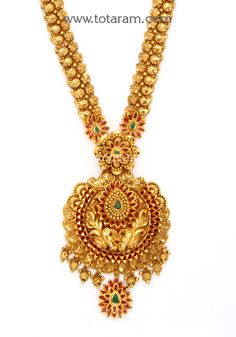 22 Karat Gold 'Peacock' Long Necklace with Color Stones (Temple Jewellery) Bird Necklace, Moon Necklace, Necklace Set, Gold Fashion, Bridal Fashion, Fashion Jewelry, Diamond Solitaire Necklace, Gold Jewellery Design, Temple Jewellery