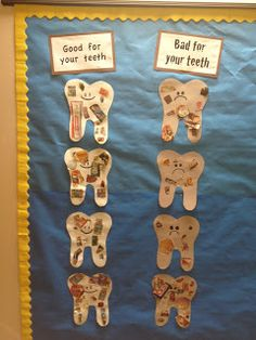 Hodge and Her Kindergarten Kids: Dental Health--what's good and bad for you. Hodge and Her Kindergarten Kids: Dental Health--what's good and bad for your teeth! Dental Health Month, School Health, Health Class, Oral Health, Health Education, Health And Nutrition, Kids Health, Nutrition Classes, Children Health