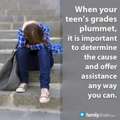FamilyShare.com l When your teen's grades plummet, it is important to determine the cause and offer assistance any way you can.