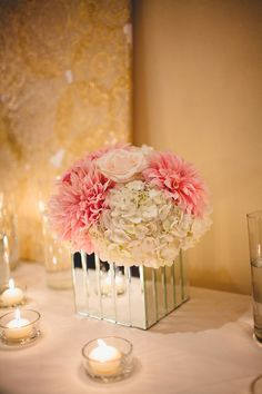 Pink and White Mirrored Centerpieces | Jamie Jones | TheKnot.com