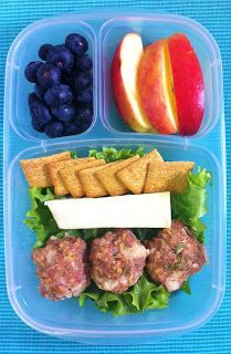 Baked Turkey Meatballs  packed for lunch #recipe in post! | packed in @EasyLunchboxes containers