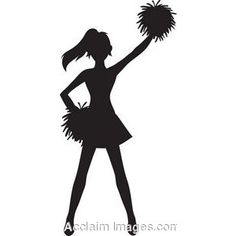 Clip Art of a Cheerleader Silhouette with Pom Poms