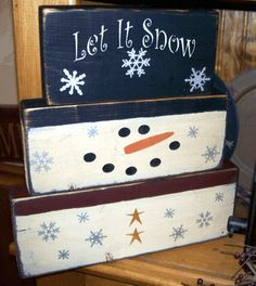 LET IT SNOW  SNOWMAN BLOCKS