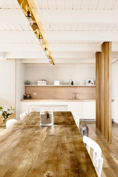 The multitude of wood textures gives the room a designing look
