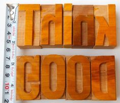 """Nicely Hand Craft Letterpress Think Good Wood Type Printers Block typography 2"""""""