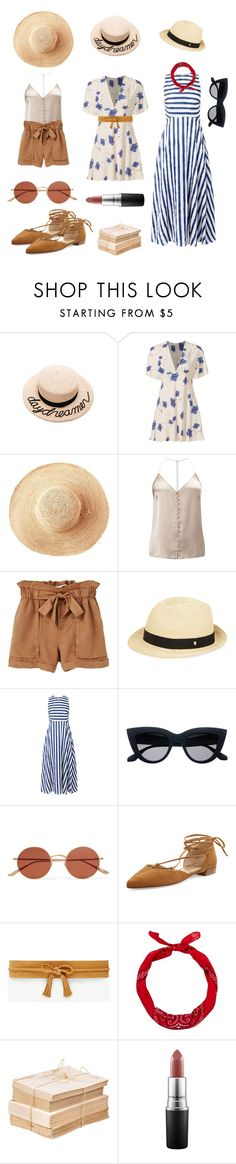 """""""The One in the Sun"""" by tirahmisue ❤ liked on Polyvore featuring Eugenia Kim, Free People, Toast, Miss Selfridge, MANGO, Helen Kaminski, Oliver Peoples, Stuart Weitzman, Ann Taylor and New Look"""