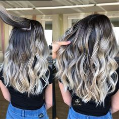 Hair Color Trends In 2019 Before & After: Highlights On Hair + Tips;Trendy Hairstyles And Colors Women . - Hair Color Trends In 2019 Before & After: Highlights On Hair + Tips;Trendy Hairstyles And Colors Women Hair Colors; Best Ombre Hair, Brown Ombre Hair, Ombre Hair Color, Brunette Color, Gray Hair, Balayage Blond, Hair Color Balayage, Hair Highlights, Color Highlights