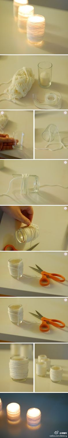 DIY :: String & glass, simple enough (just be careful with overheating; keep them away from kids, pets and some adults. ) DIY :: String & glass, simple enough (just be careful with overheating; keep them away from kids, pets and some adults. Diy Projects To Try, Craft Projects, Craft Ideas, Diys, Diy And Crafts, Arts And Crafts, Ideias Diy, Diy Candles, Tea Lights