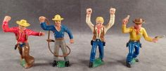 Vintage, Cowboy Action Figures - Made in Germany - 4 Pieces..