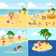 Fun At Beach. Happy Kids Plaing Sand Around Water - People Characters Download here : http://graphicriver.net/item/fun-at-beach-happy-kids-plaing-sand-around-water/16195885?s_rank=288&ref=Al-fatih