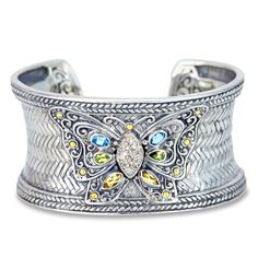 Diamond and Multi Gemstone Cuff Bangle Set in Sterling Silver & 18K Go | Cirque Jewels