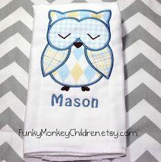 Personalized Monogrammed Baby Boy Owl Burp by FunkyMonkeyChildren, $10.00