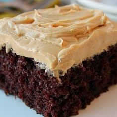 Homemade Chocolate Cake w/ Peanut Butter Frosting Recipe | Just A Pinch Recipes