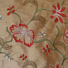 Silk Floral and Vine Embroidered Shantung Fabric – Designer Fabric by The Yard