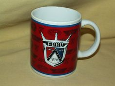 FORD MUG GRILL CROWN RED WHITE BLUE NEW COFFEE TEA CUP MSRF LOGO VINTAGE GRILL