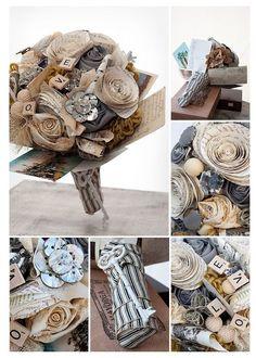 diy wedding idea - Paper roses diy burlap rustic bouquet. This site has great ideas!