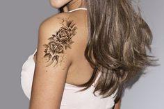 Black Floral Temporary Tattoo Ideas at MyBodiArt