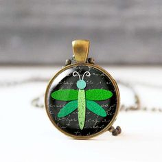 Dragonfly necklace Green chalk charm necklace Animal lover gift Photo necklace for women Unique jewelry 5020-2 by StudioDbronze