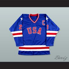 Mike Eruzione 21 USA Blue Hockey Jersey with Patch 67a56a239