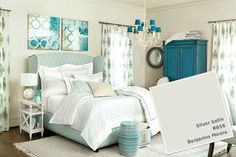 Benjamin Moore's Silver Satin paired with bright turquoise and sky blue accents