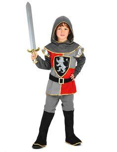 Disfraz de caballero para niño: Este disfraz de caballero para niño incluye túnica gris y roja, pantalón y capucha gris.El traje tiene un cinturón con velcro y un pantalón gris con la cintura...