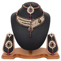 USD 23.02 Green Alloy Austrian diamonds Necklace With Earrings and Maangtikka 44002
