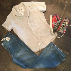 Jen's Pick is Cool and Casual  Amo Sailor Jean | Frank & Eileen Billy Jean Top | Golden Goose Mid Canvas Sneaker
