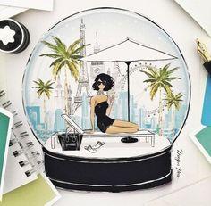 Snow globe illustration in Friday's WISH magazine inside The Australian newspaper / Megan Hess Illustration