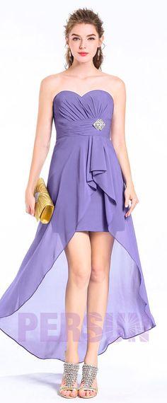 A-linie Herz-Ausschnitt lila vorne kurze hinten lang Abendkleid