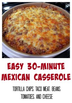 Easy Mexican Casserole - tortilla chips, taco meat, beans, tomatoes and cheese - top with your favorite taco toppings! Use in place of tortilla chips! Casserole Dishes, Casserole Recipes, Taco Bake Casserole, Taco Casserole With Tortillas, Easy Mexican Casserole, Mexican Cornbread Casserole, Enchilada Casserole, Beef Dishes, Food Dishes