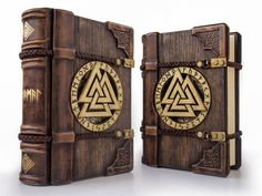 """The Words of the High One - 7"""" x 9"""" large handmade wooden/leather journal..."""