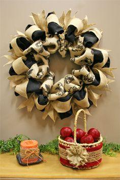 natural, black and fleur-de-lis burlap wreath