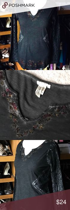 """BUCKLE """"Gimmicks"""" NWOT lace insert top Hard to capture this in pics but very interesting top.  Size: Small - runs large  Measurements Flat: 20"""" pit to pit x 28""""L. Sleeves:27"""" Fabric: Cotton Colors: """"Pirate"""" Black with Plum, green and orange embroidered flower trim Condition: NWOT Buckle Tops"""