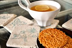 stamped stone coasters