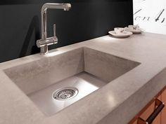 Keukentrends voor 2014 - Lightbeton Het lijkt op beton maar is eigenlijk gemaakt van een soort kunststof, heel mooi!