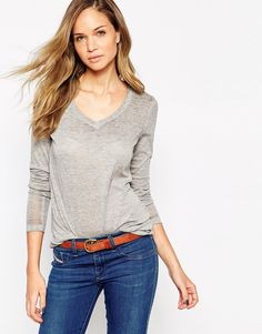 Vila V Neck Long Sleeve T-Shirt