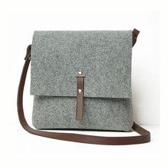 Small felt messenger bag brown leather shoulder belt gift por popeq