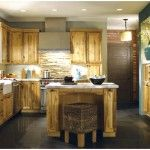 Furniture Cool Brown Rustic Kitchen Cabinet Design Idea With Rustic Countertop For Cabins Kitchen Decorating Ideas