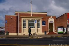 picture of the New Lynn Police Station, a brick building in stripped art deco style. Nz History, Police Station, Brick Building, Post Office, Auckland, Separate, New Zealand, Art Deco, Corner