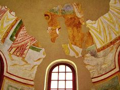 Immersion baptism of Christ fresco, date 11th century, in the baptistery of Concordia Sagittaria, photo taken April 2012.