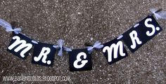 """""""Mr. & Mrs."""" banner for wedding day photography with the newlyweds. Makes a wonderful photo prop. Created by Banana Lala Party Designs & More"""