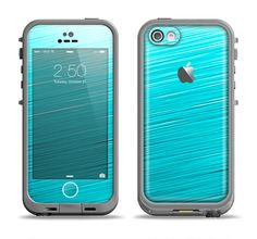 The Light Blue Slanted Streaks Apple iPhone 5c LifeProof Fre Case Skin Set