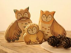 Wooden OWL FAMILY - Owl baby, mom and dad - animal toys - family gift (Rjabinnik and Rounien) Tags: wood family animals toy waldorf fantasy gift owl etsy woodworking ecofriendly