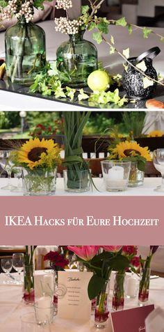 Tolle Tipps was Ihr alles aus dem IKEA-Sortiment für Eure Hochzeit nutzen könnt! Ikea Hacks, Ikea Sortiment, Inspiration, Table Decorations, Plants, Furniture, Home Decor, Weddings, Blog