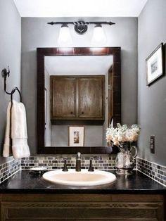 Powder Room Glass Tile Bathroom Backsplash Gray Design, Pictures, Remodel, Decor and Ideas.cute for small bathroom Grey Bathrooms, Beautiful Bathrooms, Small Bathroom, Bathroom Ideas, Master Bathroom, Brown Bathroom, Bathroom Designs, Downstairs Bathroom, Budget Bathroom