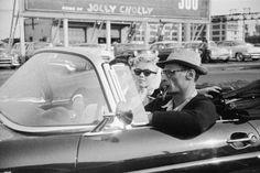 Maryln Monroe & Arthur Miller leaving Manhattan  in their new T-Bird, 1956