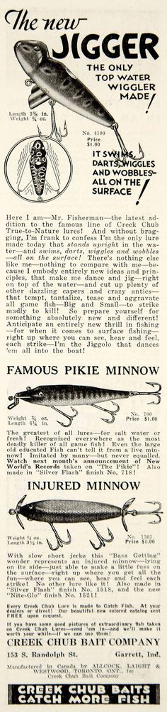 1933 Ad Creek Chub Bait Jigger Pikie Minnow Fishing Lure Tackle Sporting YHF1