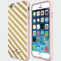 iPhone 6 Kate Spade Gold Diagonal Stripe Flexible Hardshell Case